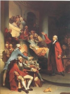 Painting of Patrick Henry giving a speech