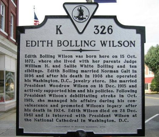 Edith Bolling Wilson Historic Marker
